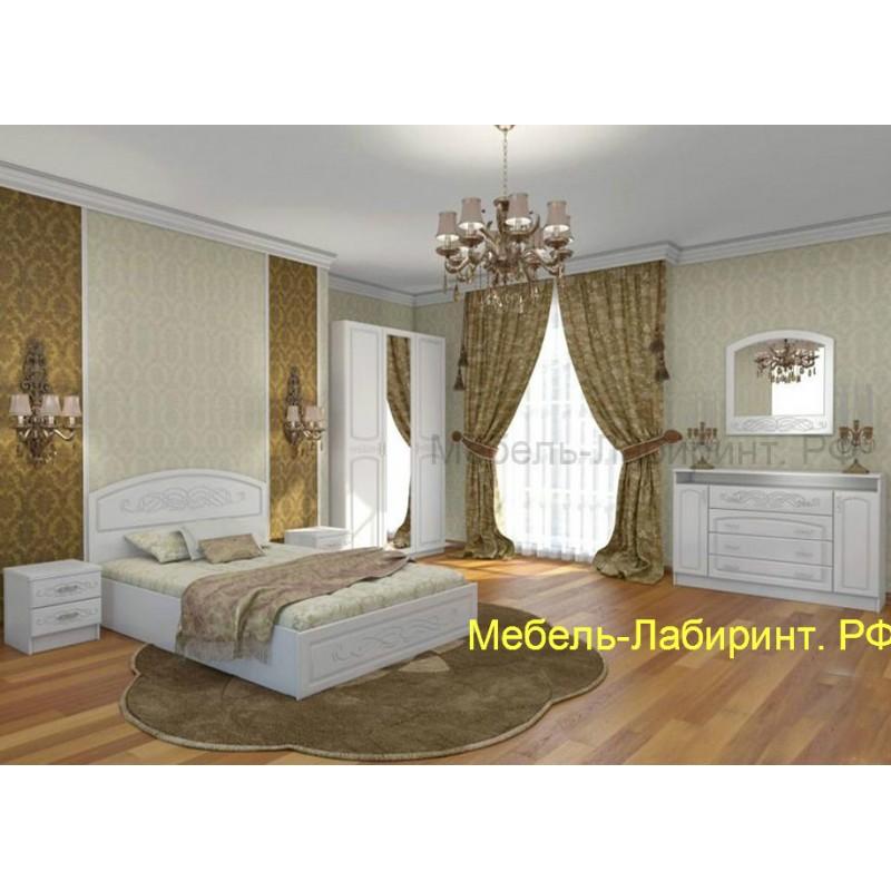 Кровать 1-сп. арт.2.2.14 (800х2000) МДФ глянец жемчуг/ЛДСП белый 852хh950х2035мм.