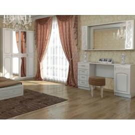 Стол туалетный арт.2.2.11+2.2.13 МДФ глянец жемчуг/ЛДСП белый 1500х420хh820мм