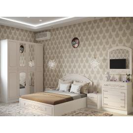 Модульная спальня арт.2.2 МДФ глянец жемчуг/ЛДСП белый