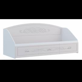 Кровать 1-сп. арт.2.2.15 (800х2000) МДФ глянец жемчуг/ЛДСП белый 852хh950х2035мм.