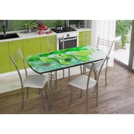 Стол обеденный арт.2.4 УФ-печать на стекле лайм 1100/1400х700хh750мм. раскладной