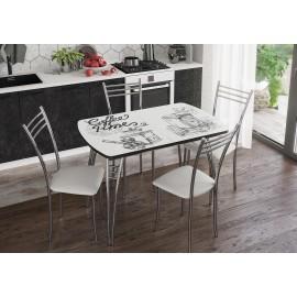 Стол обеденный арт.2.4 УФ-печать на стекле кофе 1100/1400х700хh750мм. раскладной