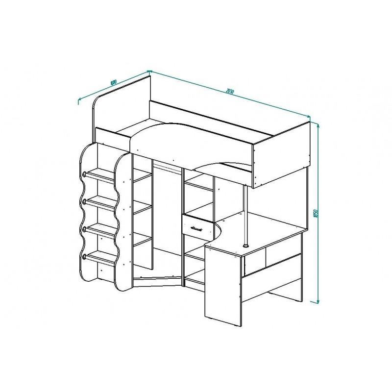 Кровать 2-х. ярусн. арт.21.51 (800х2000) (со шкафом) ЛДСП белый/сонома 2030х1070хh1850мм с лестницей