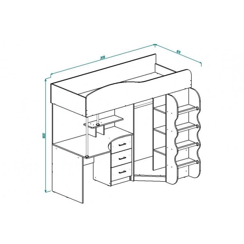 Кровать 2-х. ярусн. арт.21.52 (800х2000) (со шкафом) ЛДСП белый/сонома 2030х1070хh1800мм с лестницей