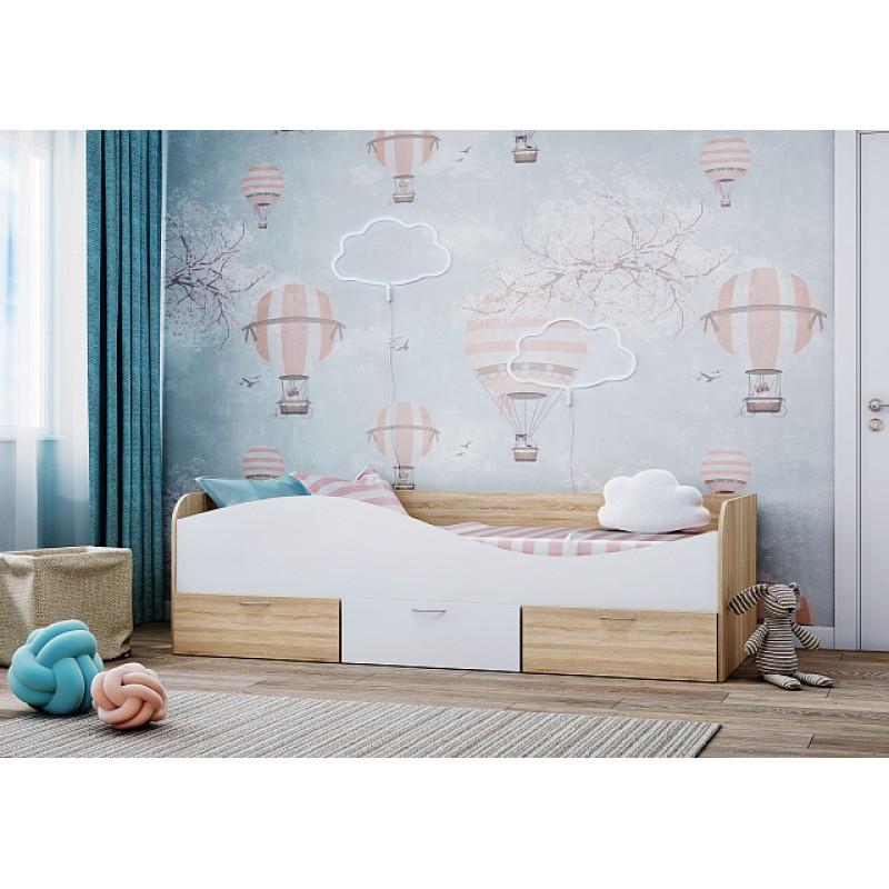 Кровать 1-сп. арт.21.55 (800х2000) ЛДСП белый/сонома 2030хh850х650мм.