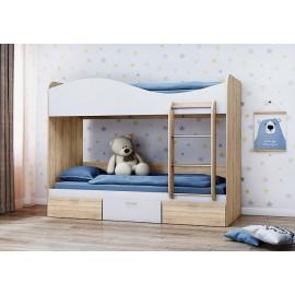 Кровать 2-х. ярусн. арт.21.56 (800х2000) ЛДСП белый/сонома 2030х980хh1700мм
