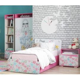 Кровать 1-сп. арт.21.58.2 (800х2000) ЛДСП+УФ печать бел/розовый корпус ясень анкор белый 2030х1020хh900мм