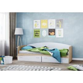 Кровать 1-сп. арт.21.63 (800х2000) ЛДСП белый/сонома 2030хh850х800мм.