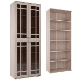 Шкаф для книг арт.21.93.7 ЛДСП ясень шимо светлый,дуб сонома+белый 800х420хh2100мм стекло/стекло