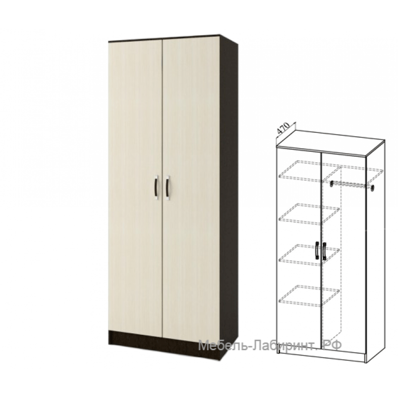 Шкаф 2-х. дв. арт.22.12.4 ЛДСП дуб беленый/венге 800х470хh2116мм