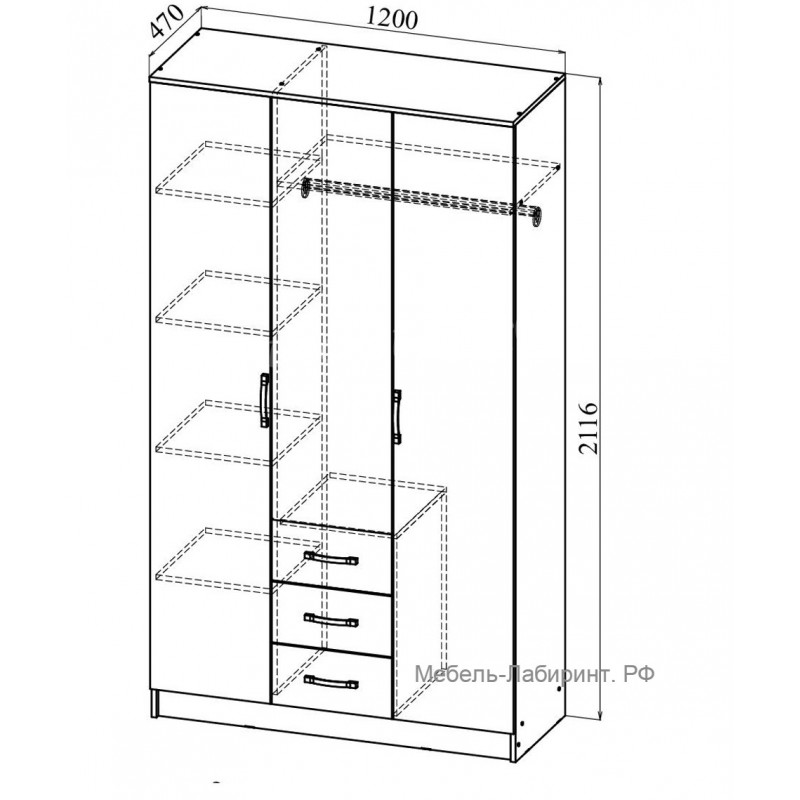 Шкаф 3-х. дв. арт.24.7.4 ЛДСП ясень шимо светлый/темный 1200х470хh2116мм