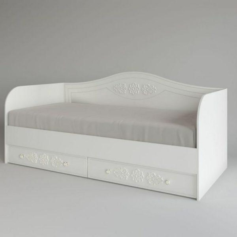 Кровать 1-сп. арт.22.40.10 (900х2000) МДФ белое дерево/ЛДСП белый 2032х950хh930мм