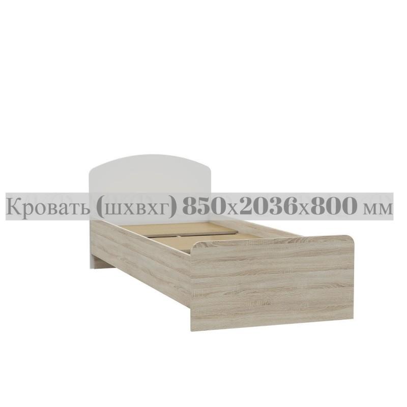 Кровать 1-сп. арт.24.123.4 (800х2000) ЛДСП белый глянец/дуб сонома 850х2036хh800мм