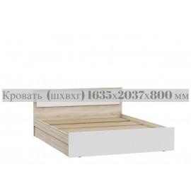 Кровать 2-сп. арт.24.123.8 ЛДСП белый глянец/дуб сонома 1635х2037хh800мм