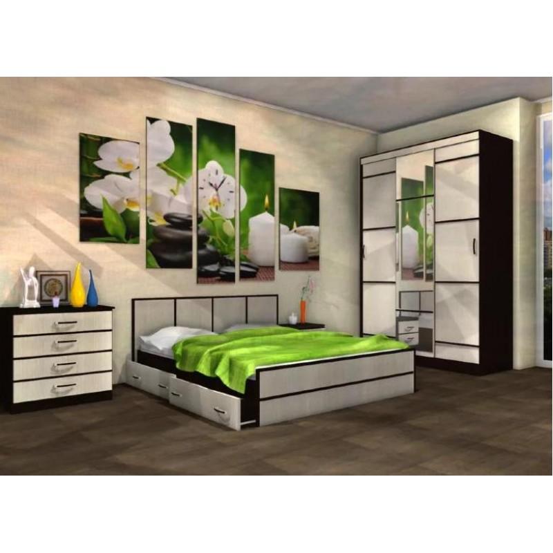 Кровать 1-сп. арт.24.25.7 (900х2000) ЛДСП дуб беленый/венге 1050х2032хh860мм