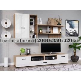 Модульная гостиная арт.24.66 ЛДСП белый глянец/дуб сонома 2000х520мм (ниша под ТВ 2000хh520мм)