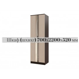 Шкаф 2-х. дв. арт.24.77.1 ЛДСП дуб беленый/венге 700х520хh2200мм (штанга)