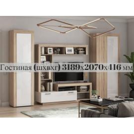 Модульная гостиная арт.24.78 МДФ белый глянец /ЛДСП дуб сонома 3189х416хh2070мм