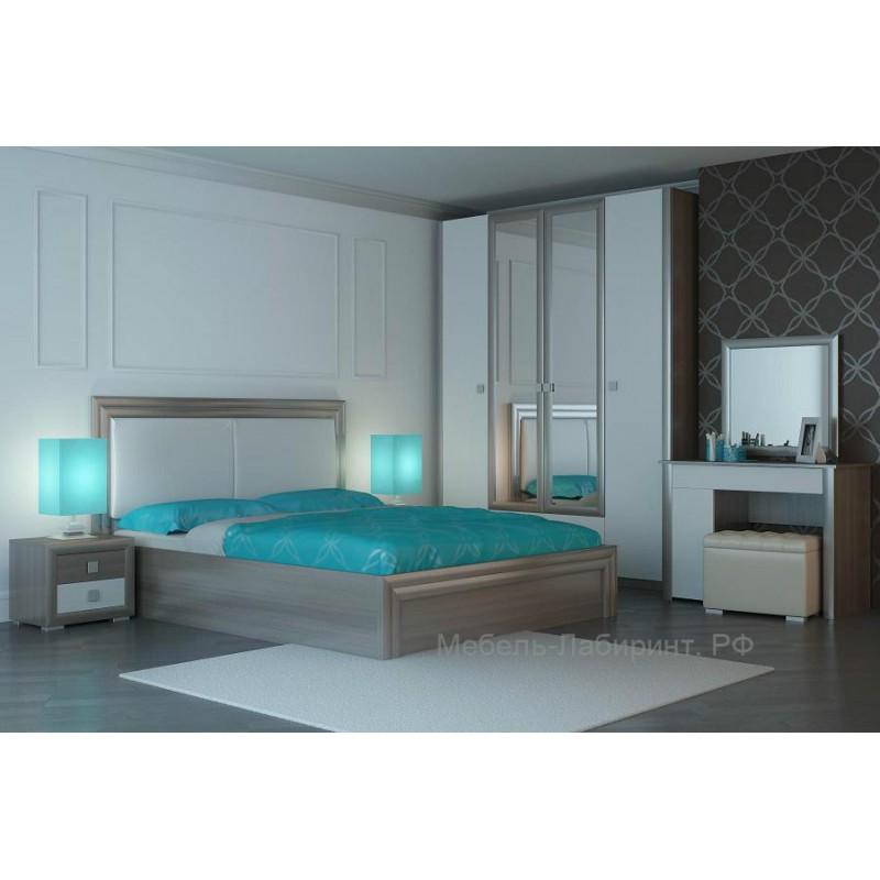 Модульная спальня арт.49.38 МДФ белый/ЛДСП ясень шимо светлый
