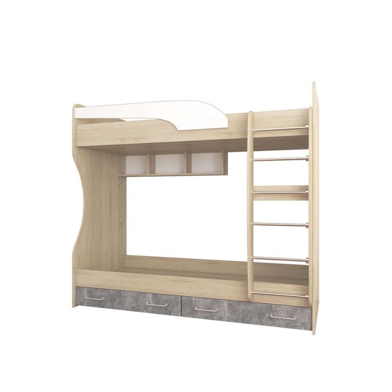 Кровать 1-сп. арт.415.1.3 (800х1860) ЛДСП акрил белый/ателье светлое/дуб сонома 1892х880хh600мм