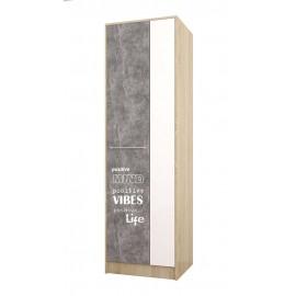 Шкаф 2-х. дв. арт.415.1.8 ЛДСП акрил белый/ателье светлое/дуб сонома 600х520хh2000мм