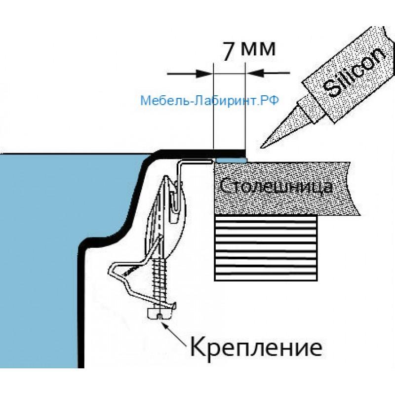 Мойка врезная круглая арт.5.12 с сифоном d=480 мм толщина металла 6мм