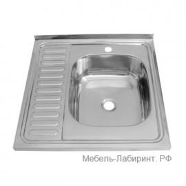 Мойка накладная 600х600 арт.5.3 правая глянец, толщина металла 4 мм
