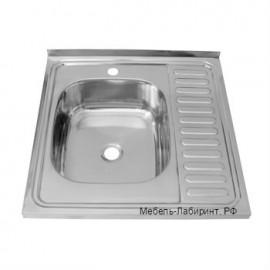 Мойка накладная 600х600 арт.5.3.1 левая глянец, толщина металла 4 мм