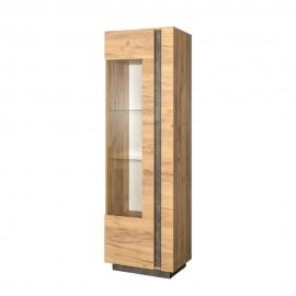 Шкаф для книг/посуды арт.71.2.1 ЛДСП камень темный 16мм./ЛДСП дуб крафт золотой 16 мм. 600х413хh1937мм