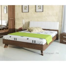Кровать 2-сп. арт.9.14.6 (1600х2000) ЛДСП старый дуб/кожзам белый 1672х2054хh943мм