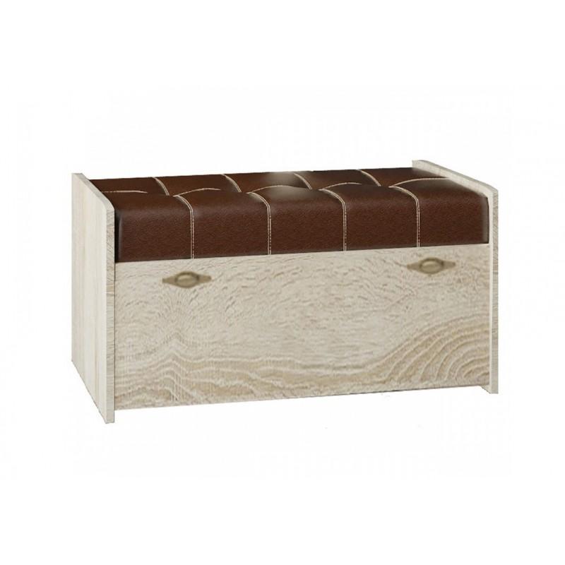 Банкетка арт.9.29.1.1 ЛДСП ель 3D/кожзам коричневый  840х400хh430мм изд.№209.2