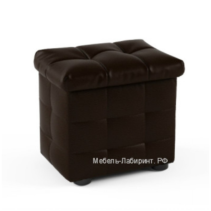 Пуфик арт.9.8 кож/зам коричневый 400х300хh380мм