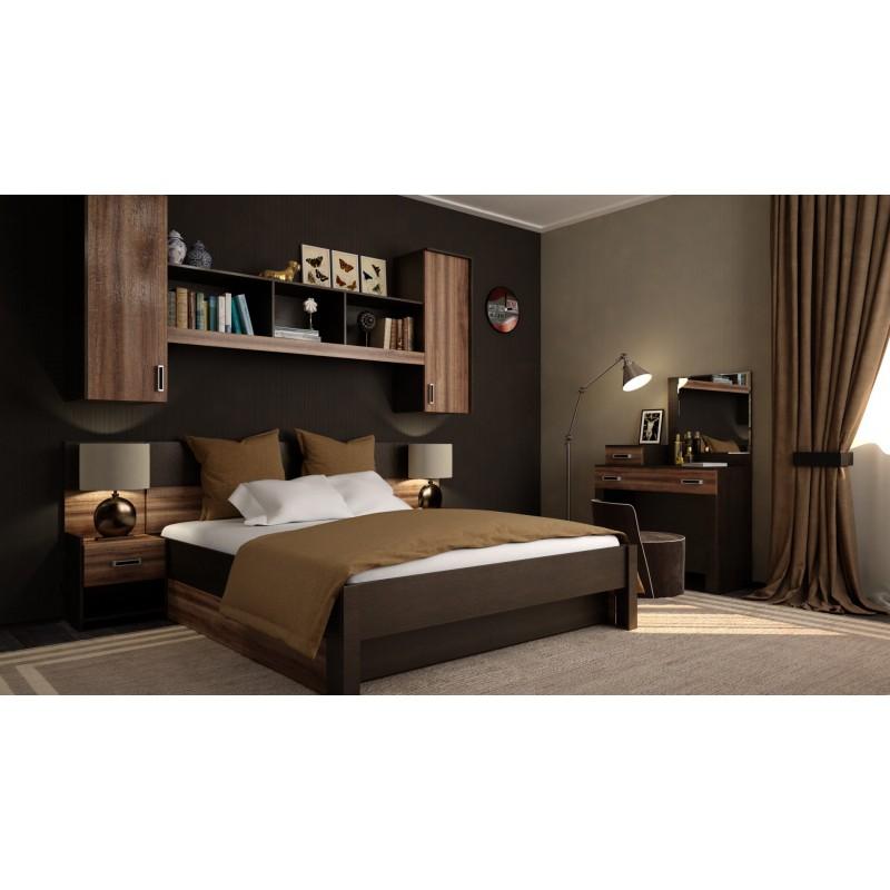 Кровать 2-сп. арт.2.27.3 (1600х2000) ЛДСП венге/дуб сакраменто 1676х2064хh1120мм.