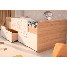 Кровать 1-сп. арт.2.53 (800х1600) МДФ белый/ЛДСП дуб сонома 1645х900х600мм с ограничителем
