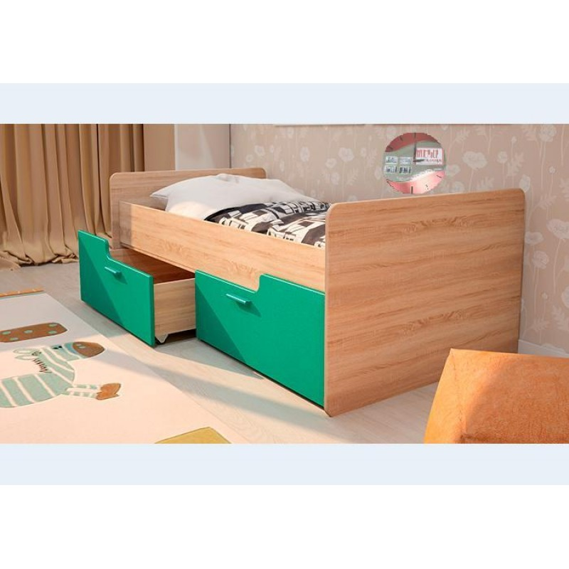 Кровать 1-сп. арт.2.54 (800х1600) МДФ бирюза/ЛДСП дуб сонома 1645х900х600мм без ограничителя