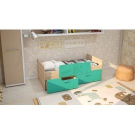 Кровать 1-сп. арт.2.53 (800х1600) МДФ бирюза/ЛДСП дуб сонома 1645х900х600мм с ограничителем