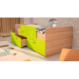Кровать 1-сп. арт.2.53 (800х1600) МДФ лайм/ЛДСП дуб сонома 1645х900х600мм с ограничителем