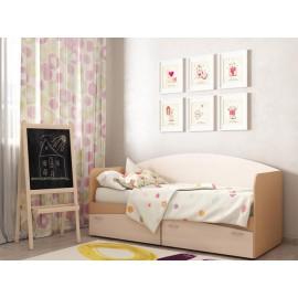 Кровать 1-сп. арт.21.63 (800х2000) ЛДСП дуб выбеленный/бук 2030хh850х800мм.