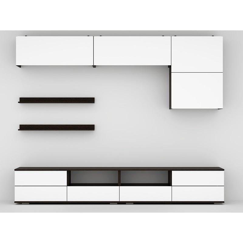 Гостиная арт.27.1 МДФ белый глянец/ ЛДСП венге 2466х473хh2132мм