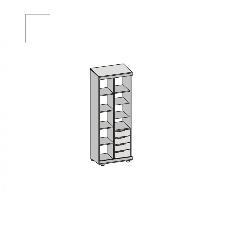 Шкаф-купе для книг/одежды арт.27.2.1 ЛДСП ясень шимо светлый/темный 900х380хh2070мм