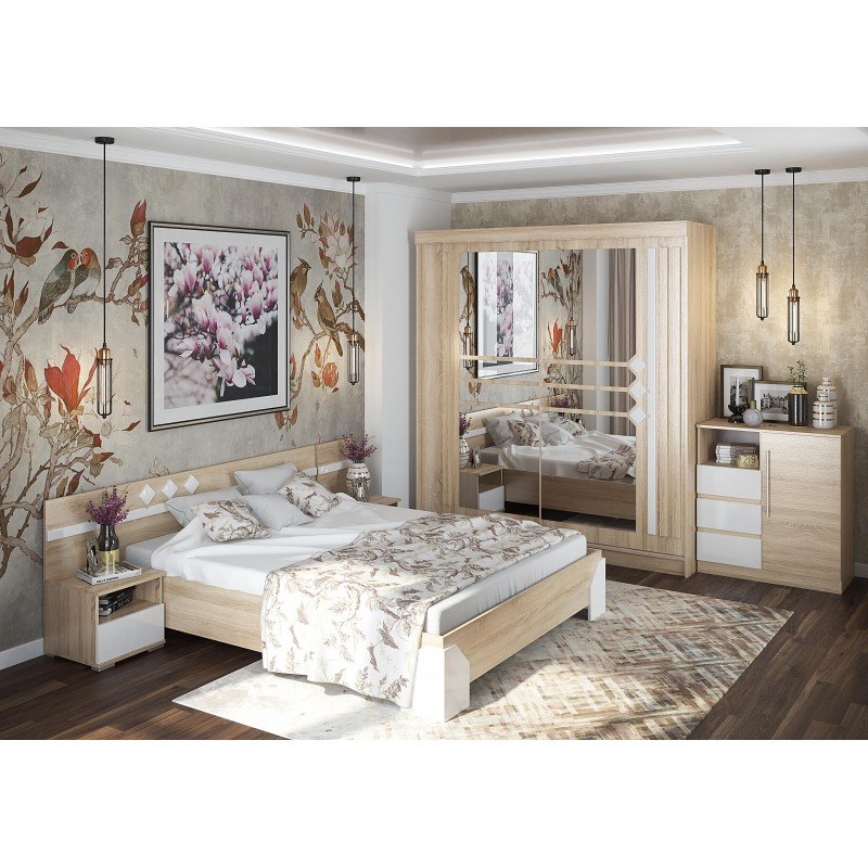 Кровать 2-сп. арт.27.4.3 (1600х2000) фасад МДФ белый ЛДСП дуб сонома/каркас ЛДСП дуб сонома 1664х2050хh750мм