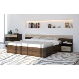 Кровать 2-сп. арт.27.5.1 (1600х2000) ЛДСП дуб белфорд/венге 2400х2050хh705 мм+комод 800х446хh723мм