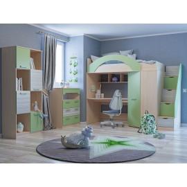 Кровать 2-х. ярусн. арт.3.26.32 ЛДСП зеленый/дуб девонш. 1982х880хh1850 мм.