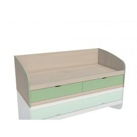 Кровать 1-сп. арт.3.26.27 (900х2000) ЛДСП зеленый/дуб девонш. 2050х950хh700 мм.