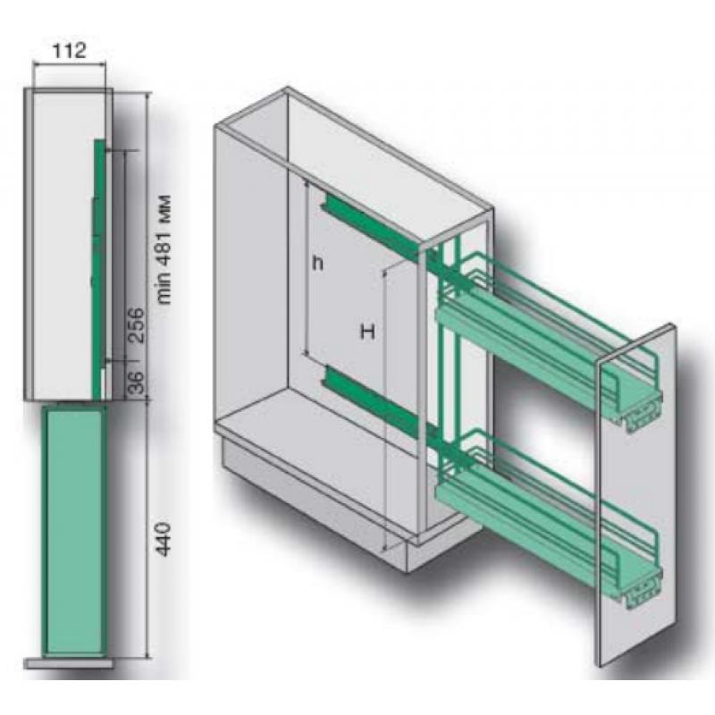 Схема 4.1 арт 4.1.78 Стол-бутылочница 150 мм.