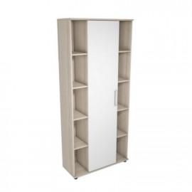 Шкаф для книг арт.4.101.5 МДФ белый глянец/ЛДСП ясень шимо светлый 875х3353хh1970мм