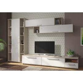 Модульная гостиная арт.4.101 МДФ белый глянец/ЛДСП ясень шимо светлый 3060мм