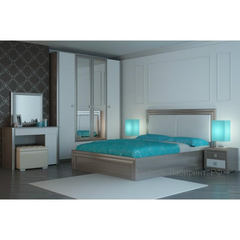 Модульная спальня арт.4.38 МДФ белый/ЛДСП ясень шимо светлый