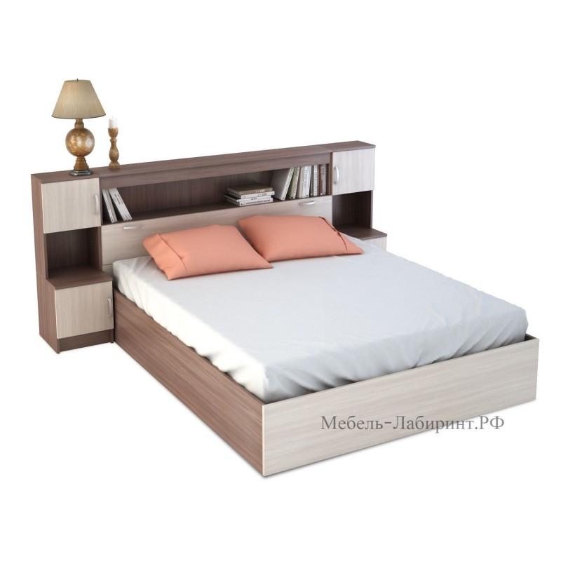 Кровать 2-сп. арт.4.43.10 (1600х2000) ЛДСП ясень шимо светлый/темный 2352хh1020х2232мм.
