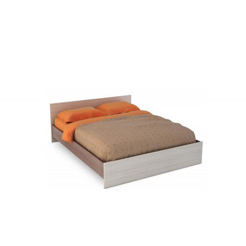 Кровать 1.5-сп. арт.4.43.7 (1200х2000) ясень шимо светлый/темный 1352хh700х2032мм.